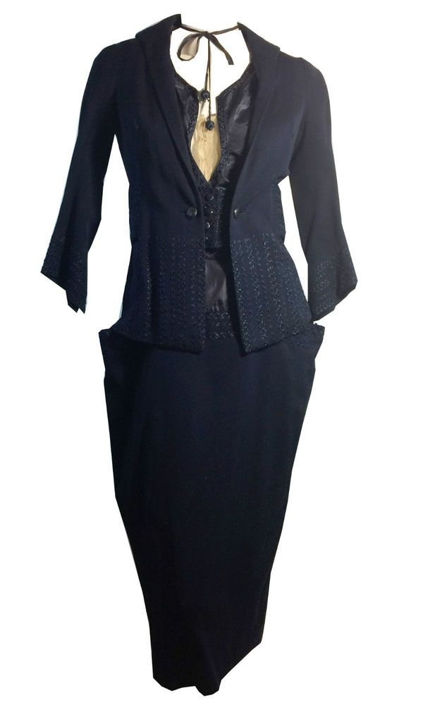 vintage Antique Edwardian Blue Wool Embroidered Dress and Jacket as is