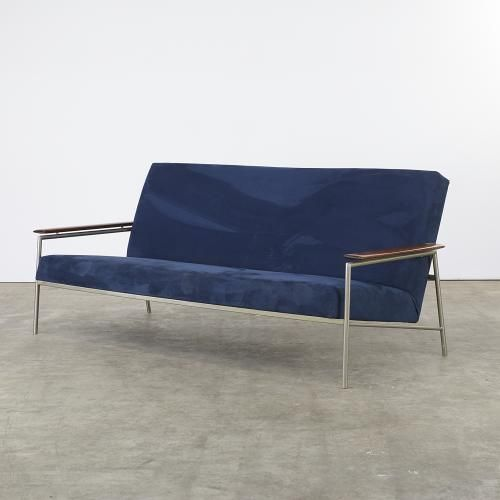 Mid Century Sofa With Metal Frame And Teak Armrests For Sale At