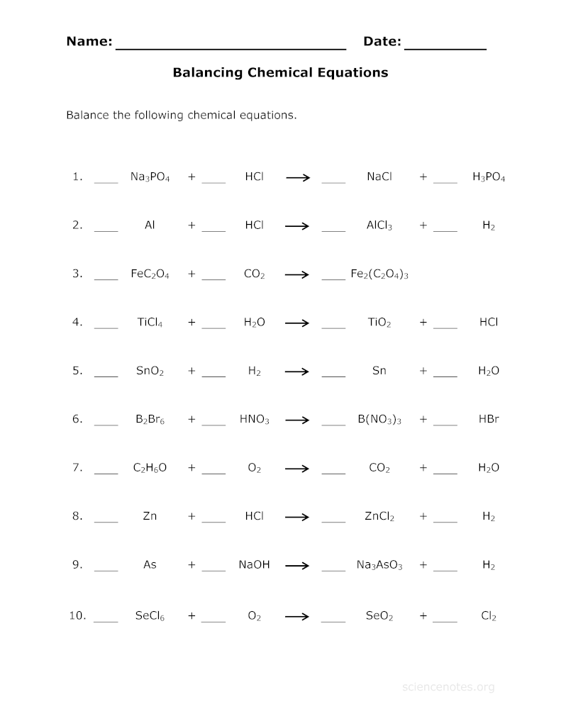 Balance Chemical Equations Practice Sheet about – Chemistry Balancing Equations Worksheet Answers
