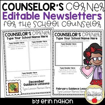 Editable School Counselor Newsletter templates #yearsupsale - office newsletter
