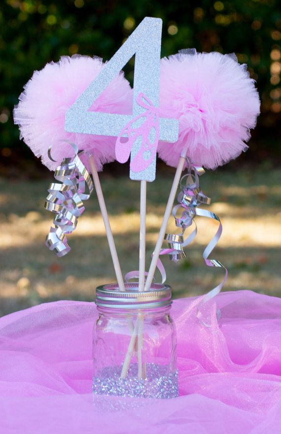 Ballerina party pink and silver centerpiece table
