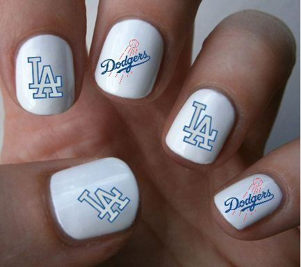 La Dodgers Mlb Baseball Nail Art Decals Stickers On Etsy 4 50