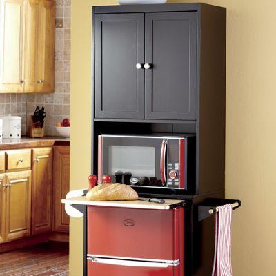 Kitchen Storage Unit For Mini Fridge And Microwave