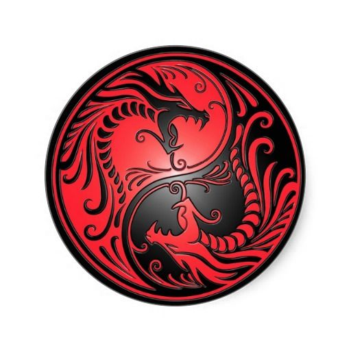 Yin Yang Dragons Red And Black Classic Round Sticker Zazzle Com Yin Yang Art Yin Yang Yin Yang Tattoos