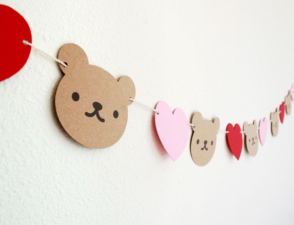 Teddy Bear and Hearts Garland 5'
