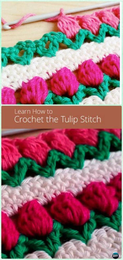 How to Crochet Tulip Stitch Free Pattern [Video] - Crochet Flower ...