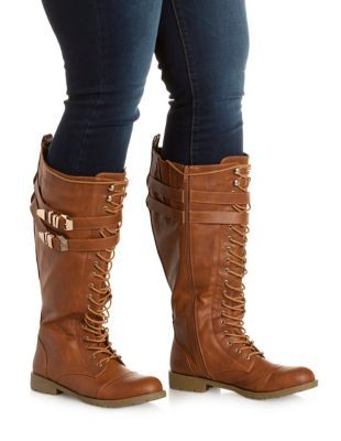a34335dff9ae9e WIDE FIT Belted Knee-High Combat Boots  Charlotte Russe
