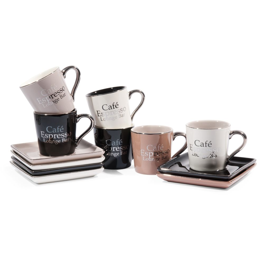 Coffret 6 tasses avec soucoupes en gr s marrons et noires for Maison du monde boutique en ligne
