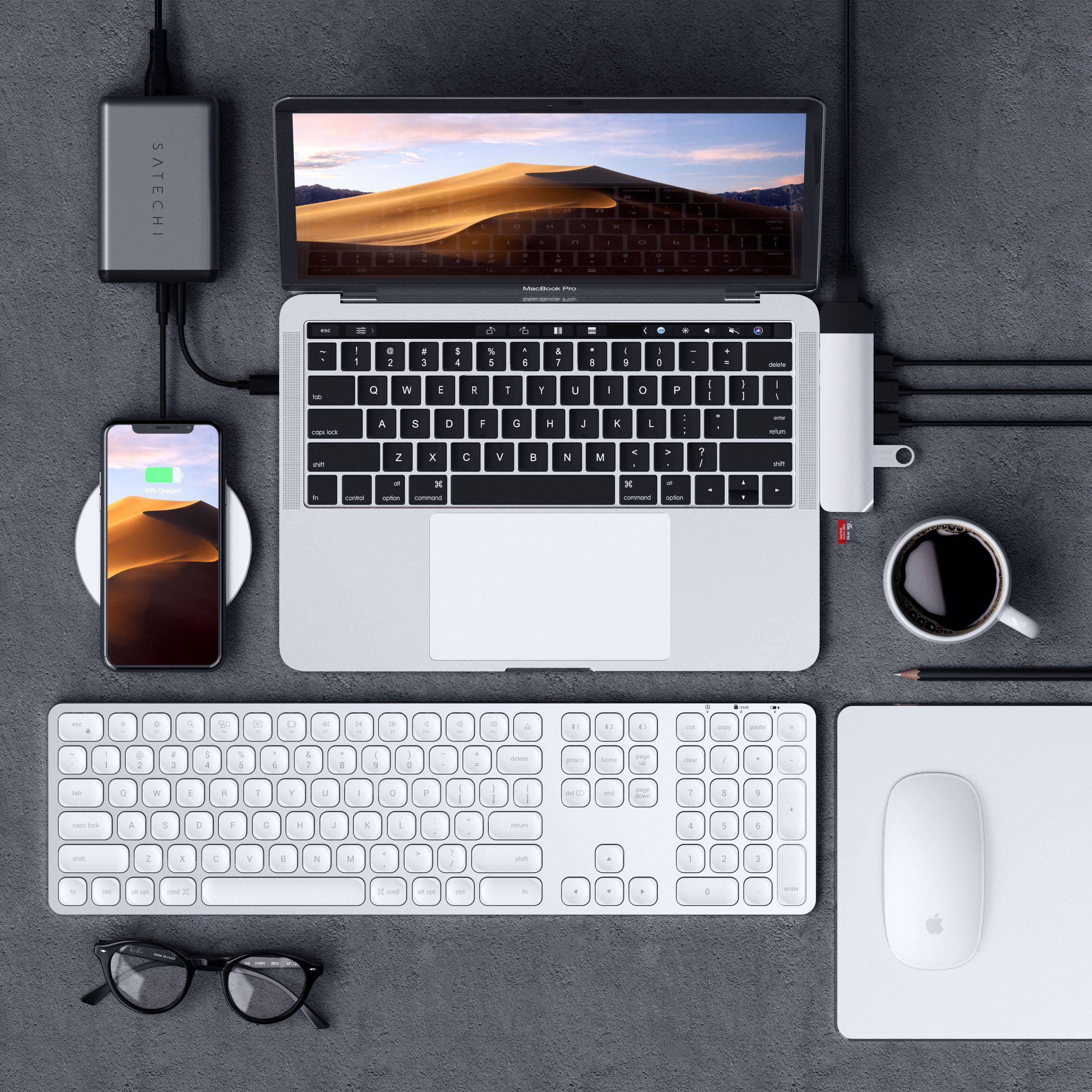Aluminum Bluetooth Keyboard Keyboard, Desktop setup, Macbook