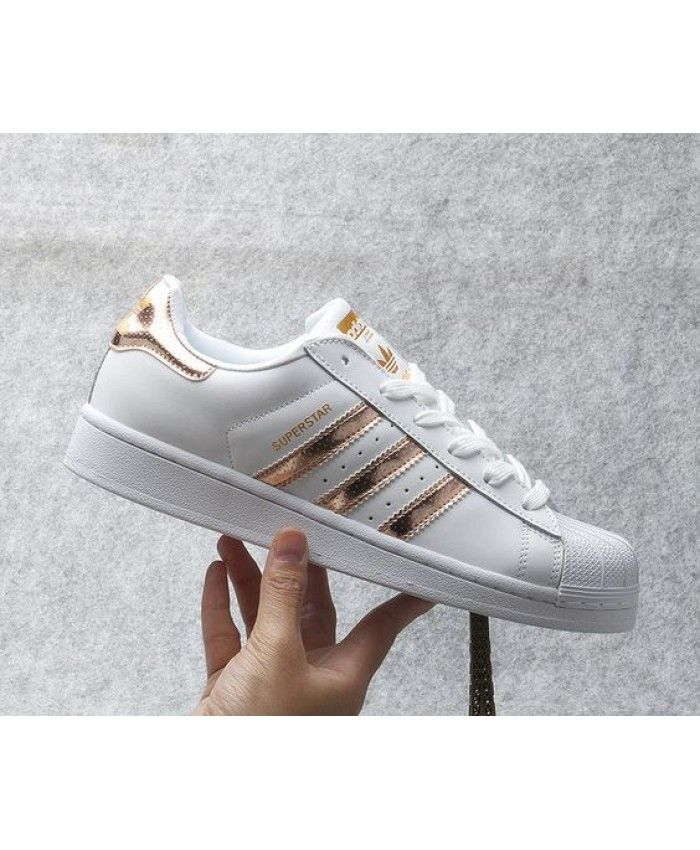 Adidas Superstar White Black Gold Juniors Womens Girls Boys Shell