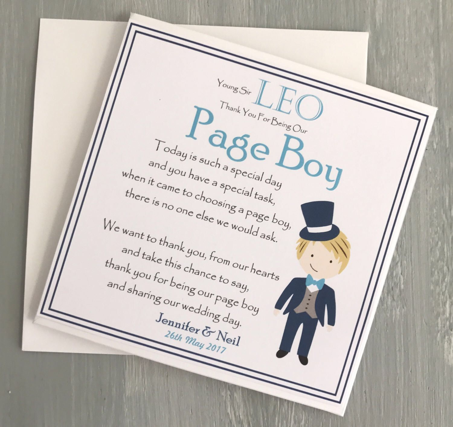 Thank You For Being Our Page Boy Personalised Thank You Greetings Card