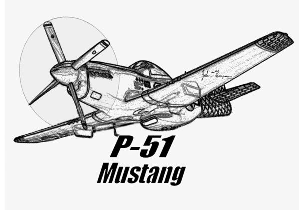 P 51 Mustang line drawing Canvas Print by JT Digital Art
