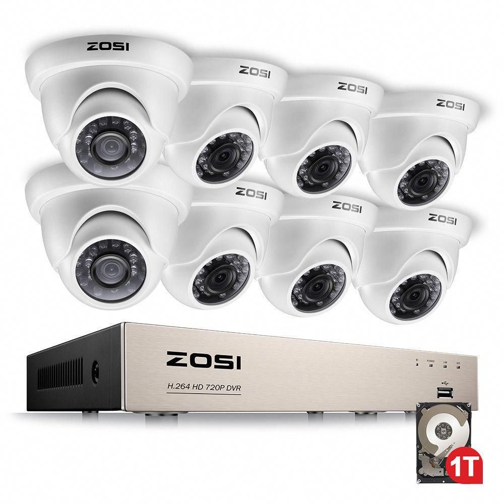 Zosi 8 Channel 720p 1tb Hard Drive Dvr Security Camera System With 8 Wired Dome Cameras 8zn 418w8 10 Us The Home Depot Security Cameras For Home Video Security System Dome Camera
