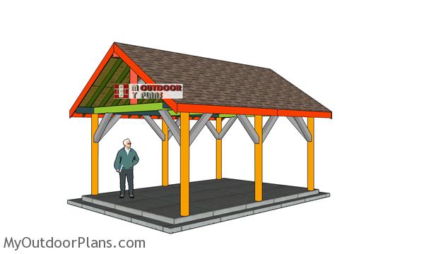 14x18 Backyard Pavilion Gable Roof Plans