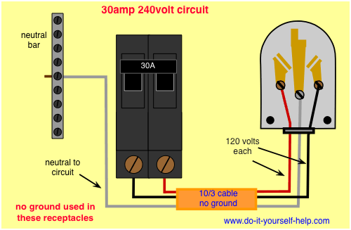 wiring diagram for a 30 amp, 240 volt circuit breaker