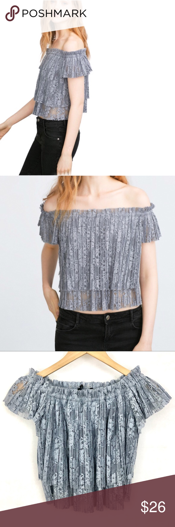 """a0ce219089a4c8 ZARA Lace Pleated Off the Shoulder Top •Blue •Approximate measurements   body length 14.5"""" center front top elastic 14"""" flat"""