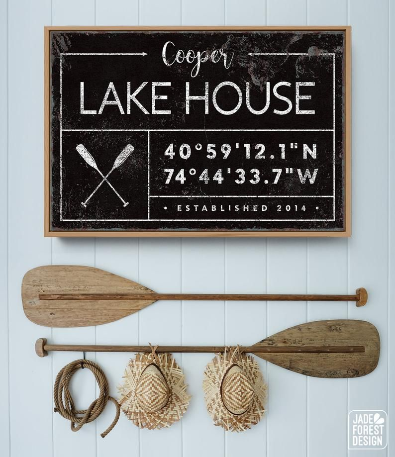 Photo of personalized LAKE HOUSE sign, rustic last name canvas for lakehouse, custom GPS location coordinates, black farmhouse wall art, boho decor
