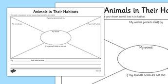 Animals in Their Habitats Worksheet - Science, Year 1, Habitats ...