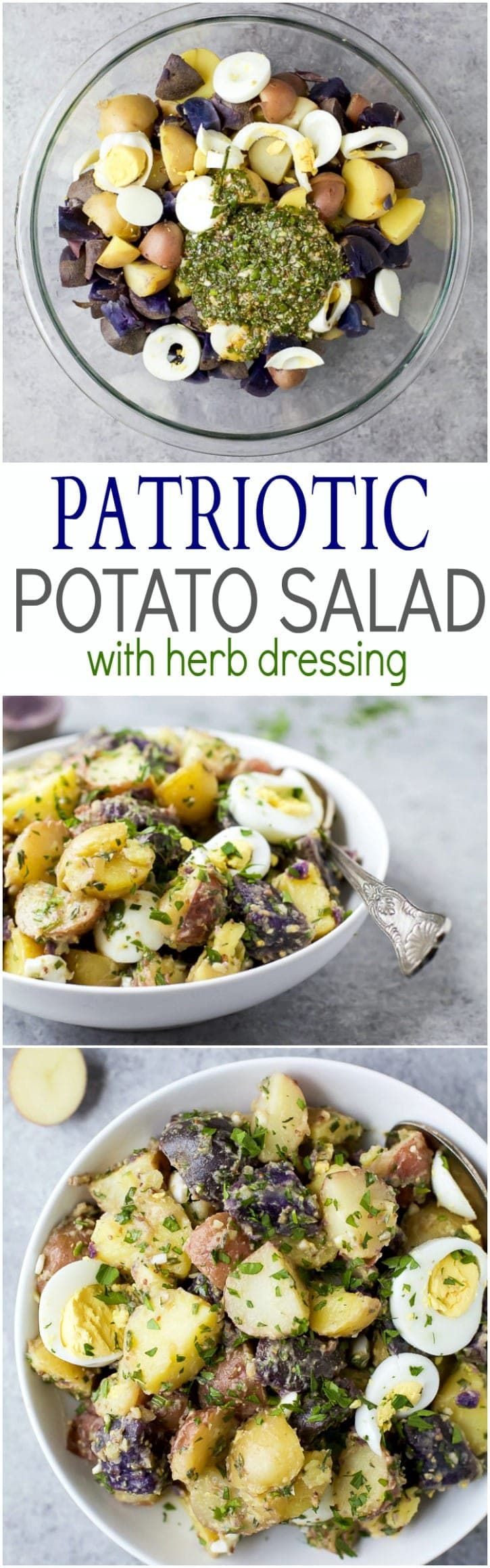 Patriotic Potato Salad with Herb Dressing Made with red, white & blue potatoes, this Patriotic Potato Salad is a delicious side dish. Covered with a homemade Herb Vinaigrette for amazing flavor!