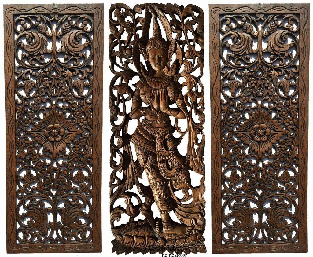 Multi Panels Oriental Home Decor Wood Carved Floral Wall Art Bali Ho Asiana Home Decor Orientalho Floral Wall Art Wood Wall Sculpture Traditional Wall Art