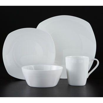 Roscher 32-pc. Kelsey Soft Square Bone China Dinnerware Set - Costco ...