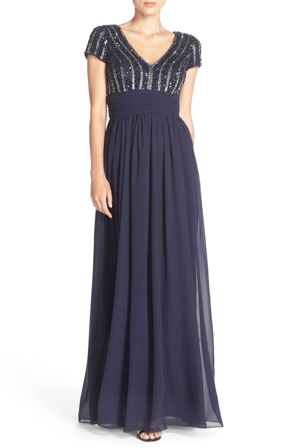 Embellished Chiffon Empire Gown