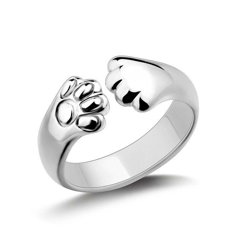 Cute Women Cat Paw Claw Open Ring Silver Plated Finger Ring Animal Jewelry BB