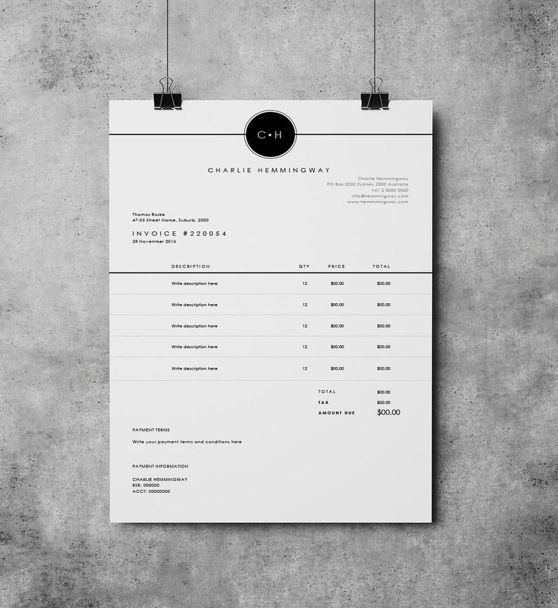 Invoice Template Invoice Design Receipt Ms Word Invoice Etsy In 2021 Invoice Design Invoice Template Invoice Layout