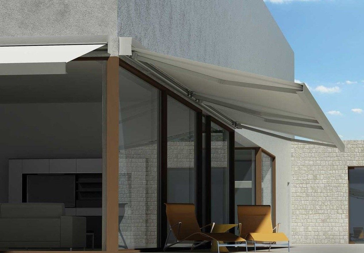 White Retractable Awning Over Yellow Patio Home Exterior Makeover Patio Lounge Chairs Patio Design