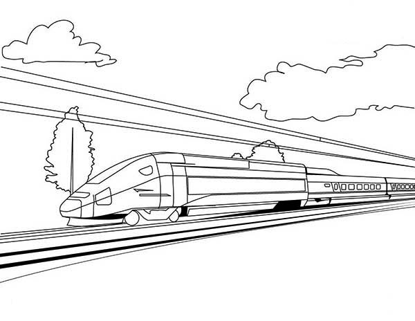 High Speed Train On Sunny Day Coloring Page Color Luna Train Coloring Pages Speed Training Coloring Pages