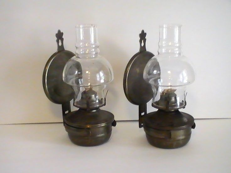 Oil Lamp Vintage Rustic Metal Wall Mounted Set Of 2