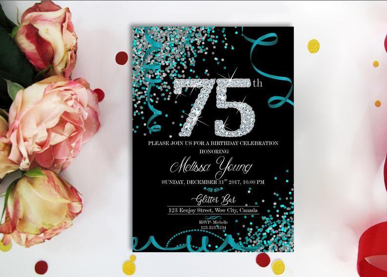 Teal Silver Diamonds 75th BIRTHDAY INVITATION Black Teal