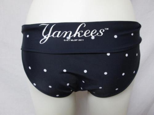 New York Yankees Womens Size Medium Polka Dot Bikini Bathing Suit Bottom ba 3914