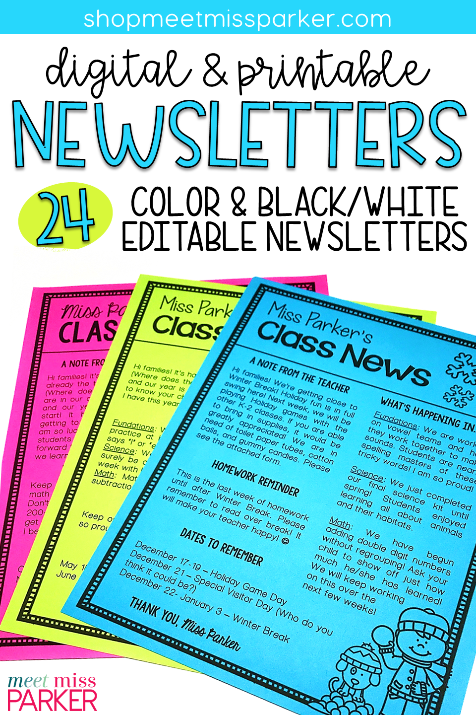 Newsletter Template For Your Classroom These Editable Newsletters