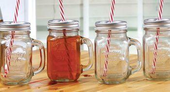 Set Of Four Glass Mugs With Straws