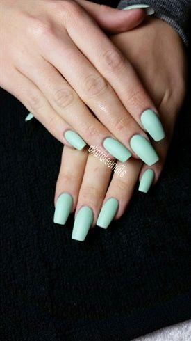 Matte Mint By Karaleenails With Images Mint Acrylic Nails Mint Green Nails Mint Nails