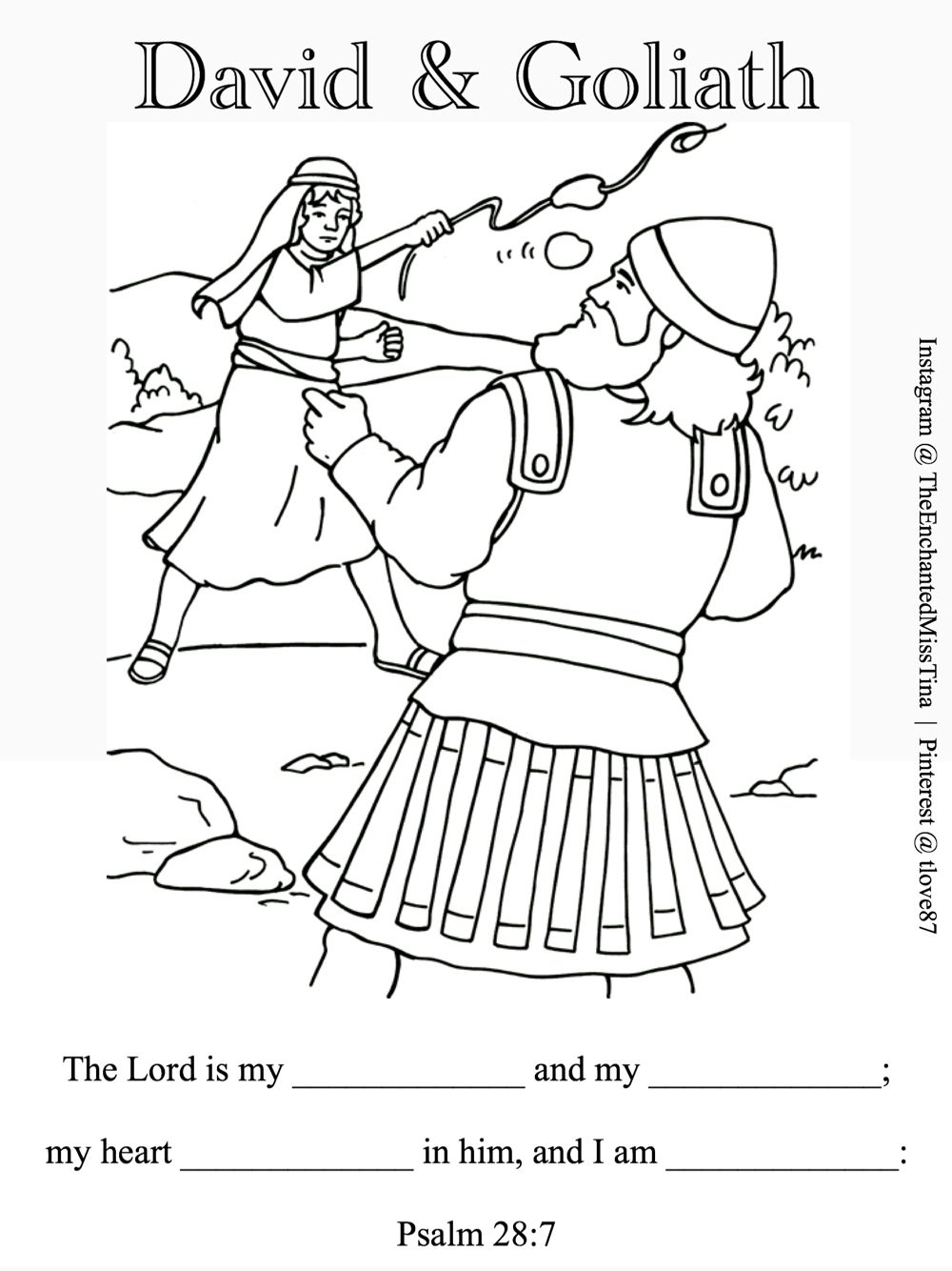 David and Goliath coloring page. Psalm 287 fill in memory