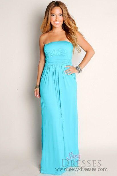 a97824aaee Sexy Aqua Blue Life's A Beach Flowy Empire Waist Tube Top Maxi Dress  Talles: S, M, L Precio: $100