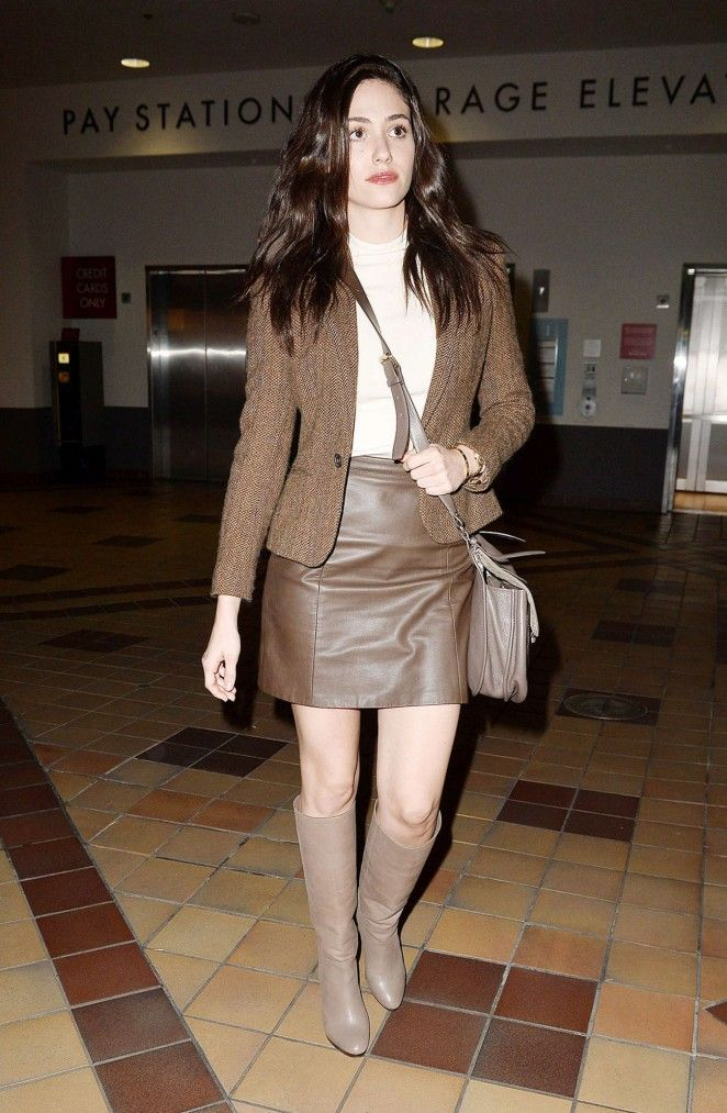 c0d7726b Emmy Rossum brown leather skirt boots outfit | Emmy rossum in 2019 ...