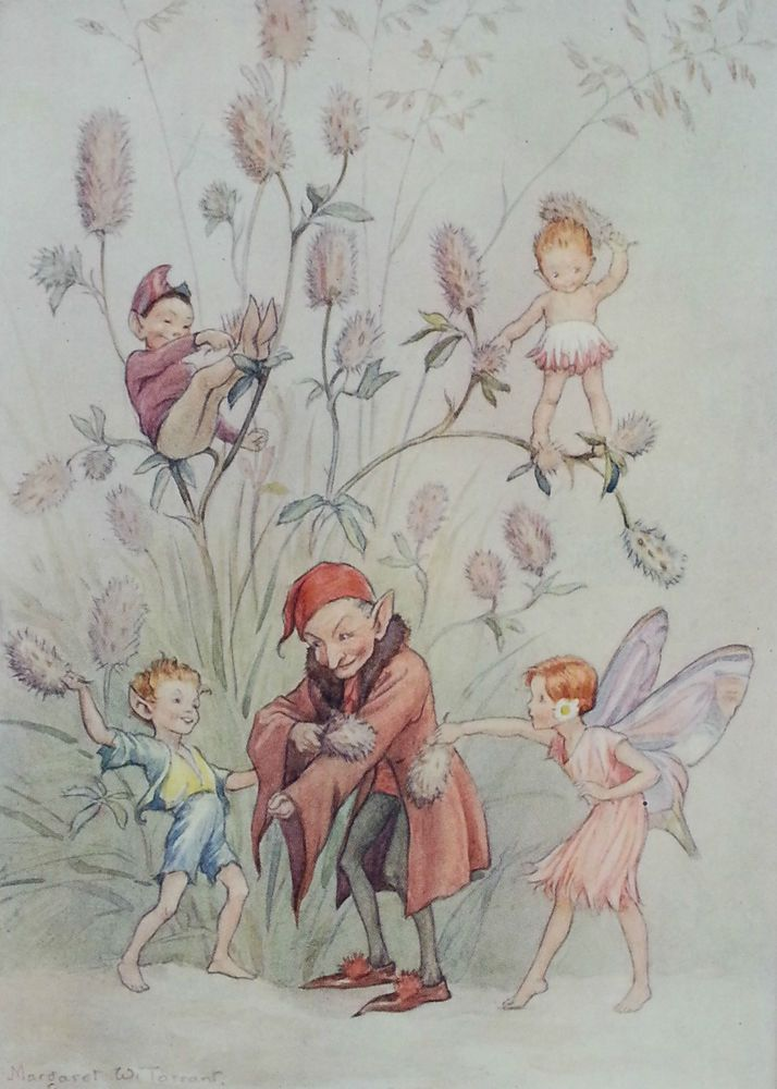 Fairies Hares Foot Clover Fairy Vintage Print Margaret Tarrant 1936 RARE