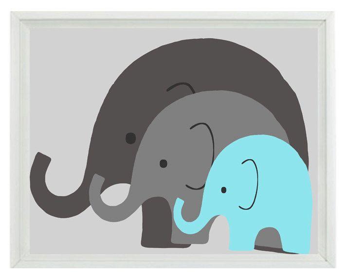 Elephant Nursery Wall Decor elephant nursery wall art print - mom baby dad family aqua gray