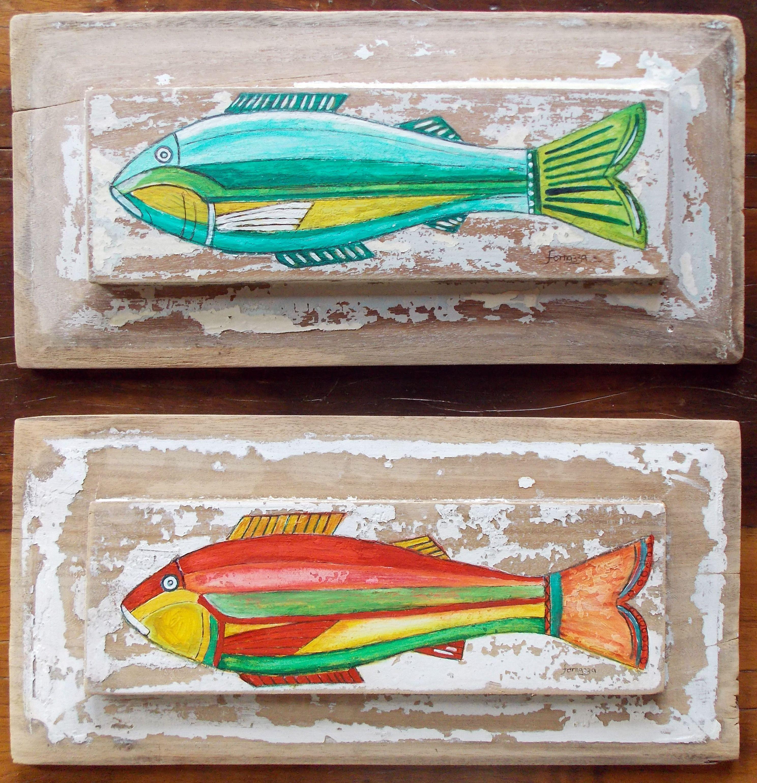 ed2a4c5f0 Pintura de peixe em madeira.