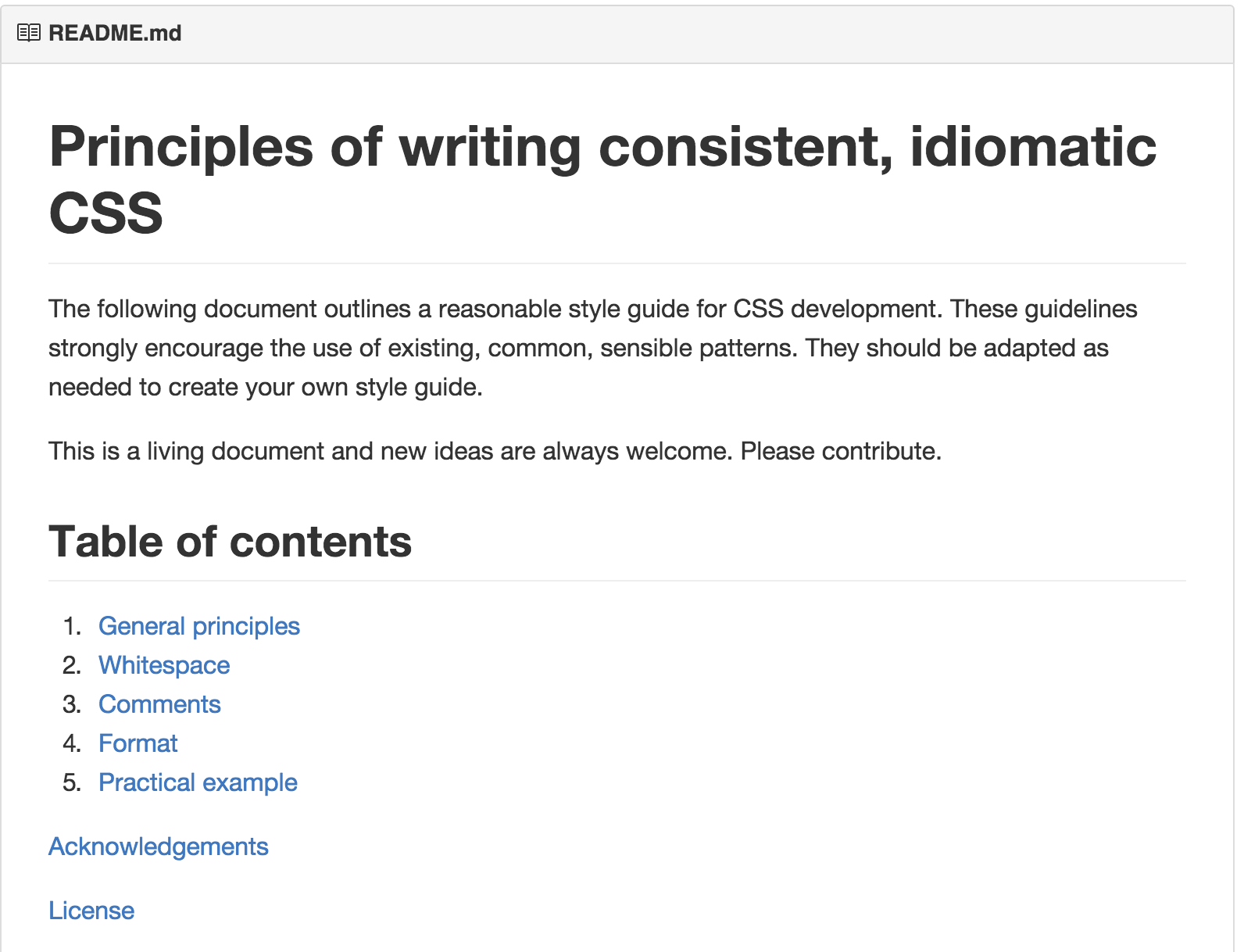 Principles of writing consistent idiomatic CSS Web Standards