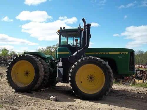 John Deere 9200 tractor salvaged for used parts. This unit is available at All States Ag Parts in Ft. Atkinson, IA. Call 877-530-3010 parts. Unit ID#: EQ-24139. The photo depicts the equipment in the condition it arrived at our salvage yard. Parts shown may or may not still be available. http://www.TractorPartsASAP.com