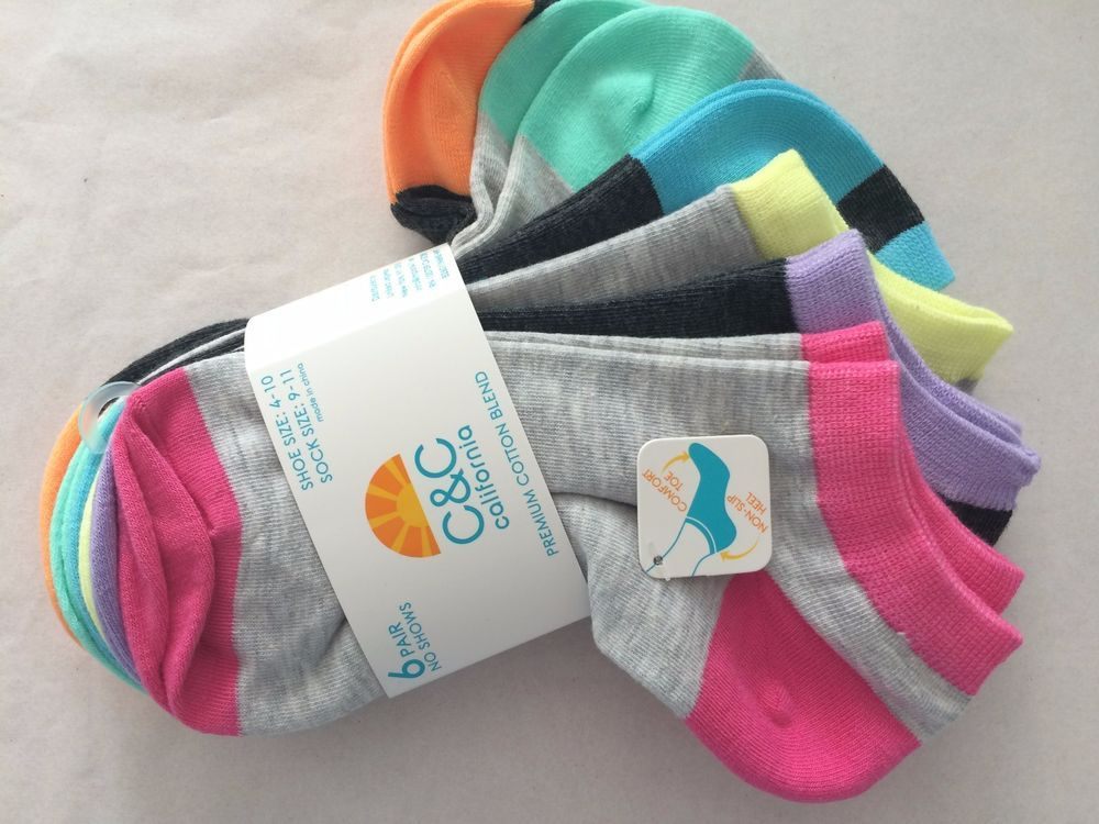 Women C & C CALIFORNIA NO SHOW SOCKS MULTI COLORS PACK OF 6 size 9-11 NEW #CCCALIFORNIA #AnkleHigh