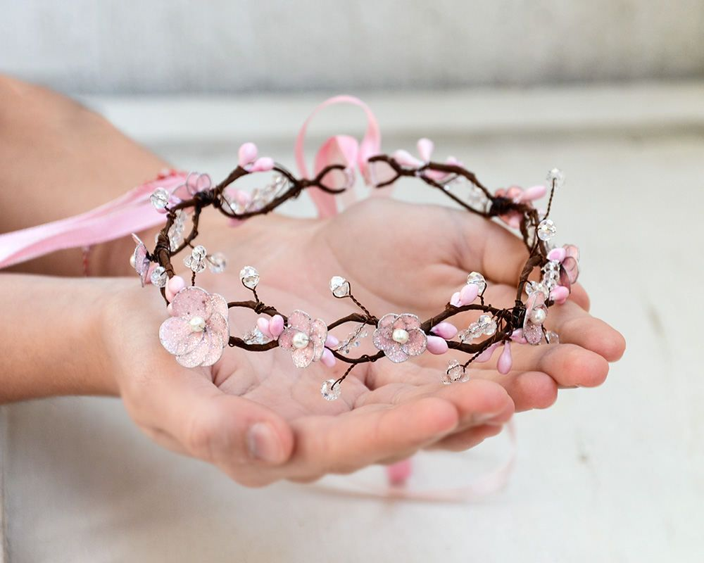 Pink Flower Crown Sakura Hair Jewelry Crown Cherry Blossom Etsy Pink Flower Crown Cherry Blossom Theme Cherry Blossom Wedding