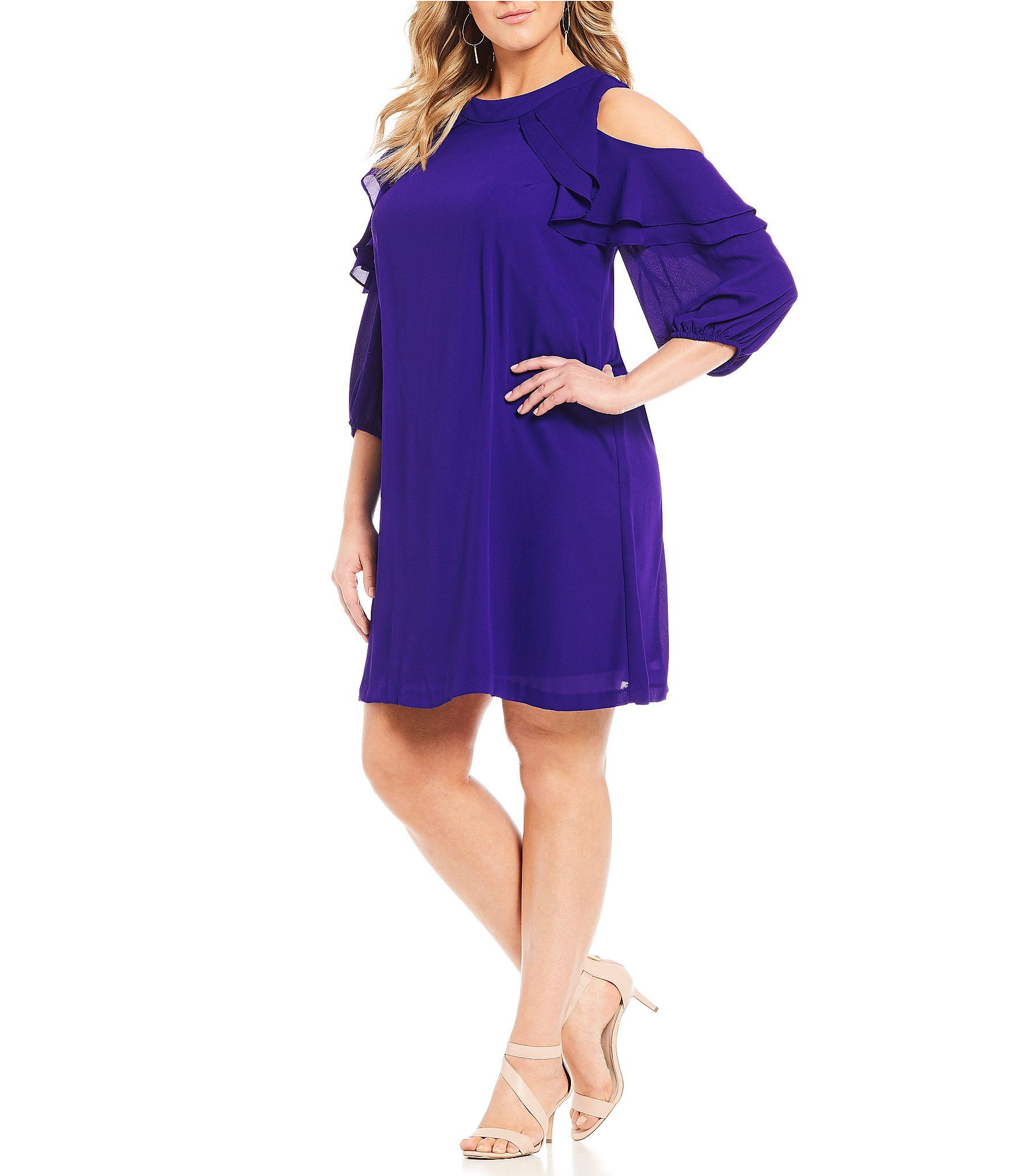 Jessica Howard Plus Ruffled Cold Shoulder Dress