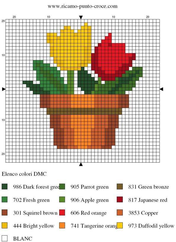 disegno punto croce vaso di fiori 003                                                                                                                                                      Mais
