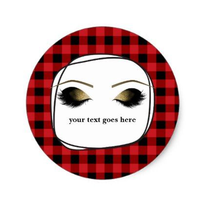 Red Plaid Rustic Glam Gold Makeup Eyelashes Favor Classic Round Sticker