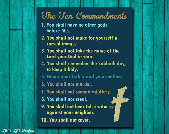 Ten Commandments Wall Art. Christian Wall Decor. Scripture. Bible ...